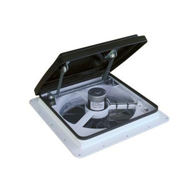 RV Roof Vent - MaxxFan Plus 4500K Roof Vent With Intake, Exhaust & Remote - Smoke Lid