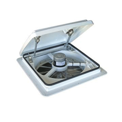 RV Roof Vent - MaxxFan Plus 4000K Roof Vent With Intake, Exhaust, Thermostat White Lid