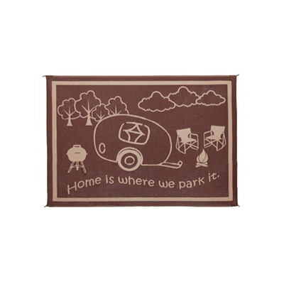 Camping Mats - Ming's Mark Home Is Where We Park It Mat 8' x 11' - Brown & Beige