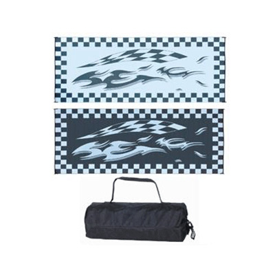 Camping Mats - Ming's Mark Checkered-Graphic Reversible Mat 8' x 16' - Black & White