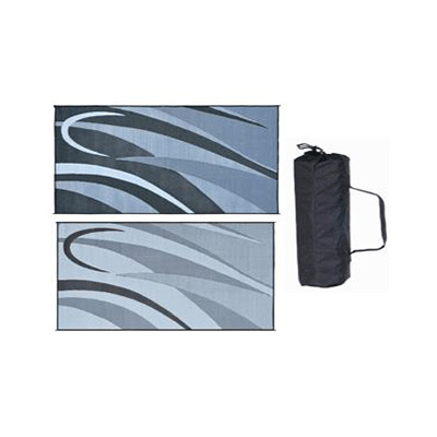 Camping Mats - Ming's Mark Graphic Reversible Mat 8' x 16' - Black & Silver