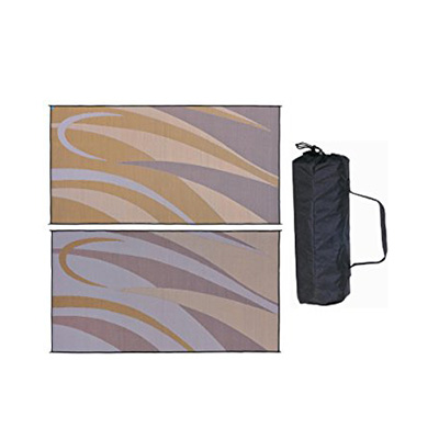 Camping Mats - Ming's Mark Graphic Reversible Mat 8' x 16' - Brown & Gold