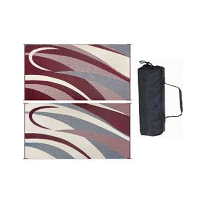 Camping Mats - Ming's Mark Graphic Reversible Mat 8' x 16' - Burgundy & Black