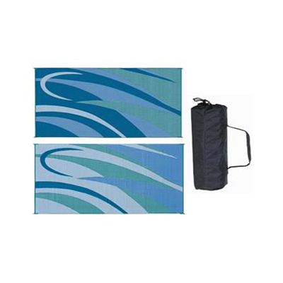 Camping Mats - Ming's Mark Graphic Reversible Mat 8' x 16' - Blue & Green