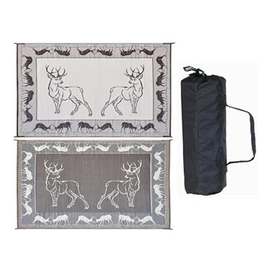 Camping Mats - Ming's Mark - Deer - 8 x 18 Feet - Black/Brown/Beige