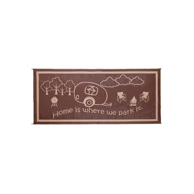 Camping Mats - Ming's Mark Home Is Where We Park It Mat 8' x 18' - Brown & Beige