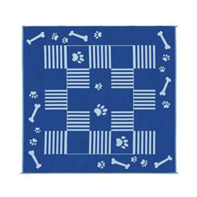 Camping Mats - Ming's Mark - Dog Prints - 9 x 9 Feet - Blue And White