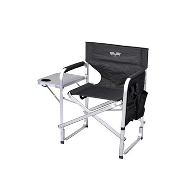 Chairs - Ming's Mark Director-Style Folding Chair - Black With White Flag