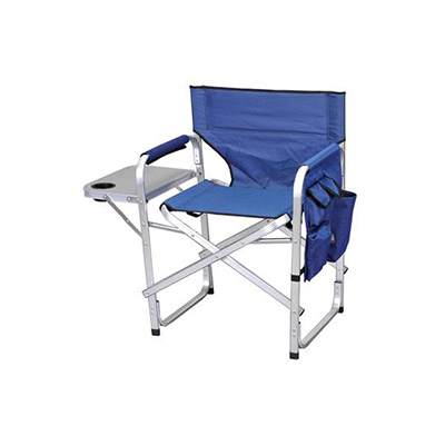 Camping Chairs - Ming's Mark Director-Style Folding Chair With Side Pouch & Tray - Blue