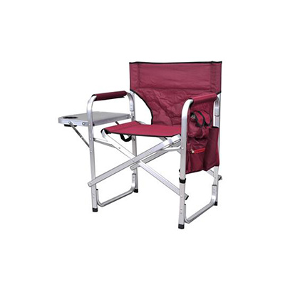 Camping Chairs - Ming's Mark Director-Style Folding Chair With Side Pouch & Tray - Burgundy