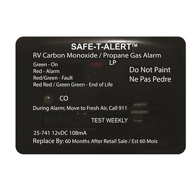 CO/LP Detector - Safe-T-Alert 25 Series Surface Mount Detector 12V Black