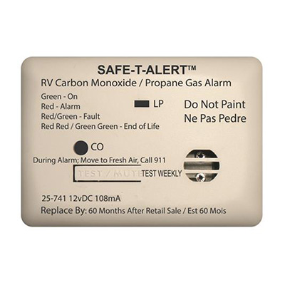 CO/LP Detector - Safe-T-Alert 25 Series Surface Mount Detector 12V White