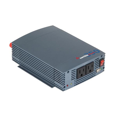 Power Inverter - Samlex Solar 350 Watt Pure Sine-Wave Power Inverter With Battery Clamps