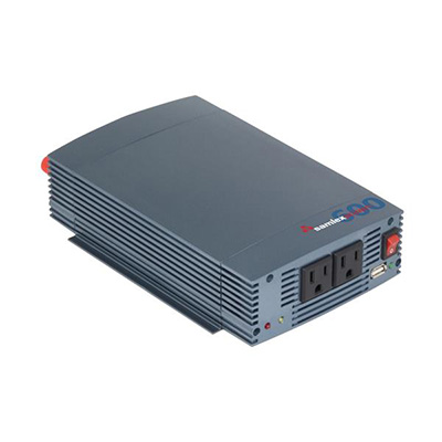 Power Inverter - Samlex Solar 600 Watt Pure Sine-Wave Power Inverter With Battery Clamps