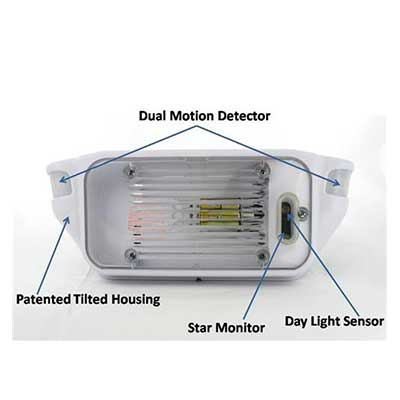 Porch Lights - AP Products LED Motion-Activated Porch Light With White Base & Clear Lens