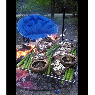 Fire Pit Grate - Stromberg Carlson Rectangular Stake & Grill With Nylon Storage Bag