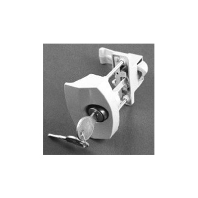Door Latch - Strybuc Locking Push Button Steel Door Latch - White