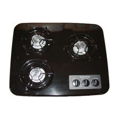 Gas Cooktops - Suburban 3-Burner Drop-In-Counter Propane Cooktop Black