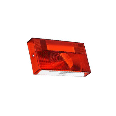 Tail Light Lens - Peterson V25913 Lens With Square Corners & License Plate Light - Red