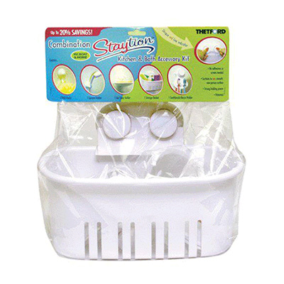 Bathroom Storage Bin - Thetford Bathroom Basket With Suction-Cup Mounts White