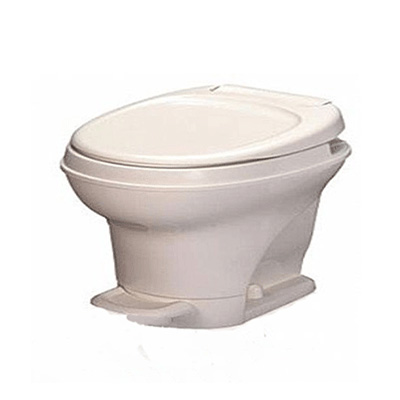 RV Toilet - Aqua-Magic V Low Profile Foot Flush Toilet Parchment