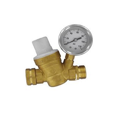 Water Pressure Regulator - Valterra - With Gauge - Adjustable - Brass