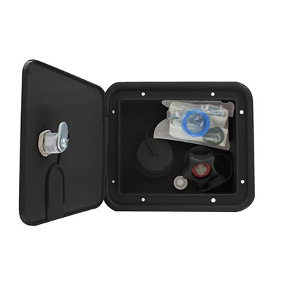 Water Inlet Hatch - Lockable Door - Black