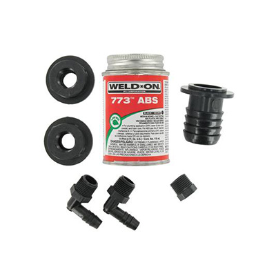 Holding Tank Fittings - Valterra - Kit With Cement - Straight Fill Fitting
