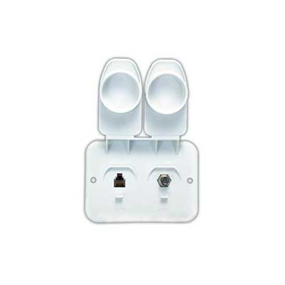 "Phone And Cable Plate - JR Products - 3""H x 4""W - Polar White"