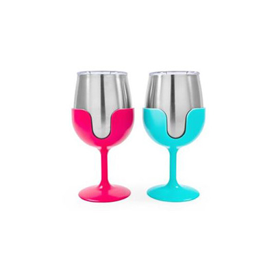 Camping Glasses - Camco Life Is Better At The Campsite Wine Tumbler Set Blue & Pink