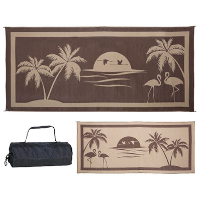 Camping Mats - Ming's Mark - Tropical Oasis - 8 x 18 Feet - Brown And Beige