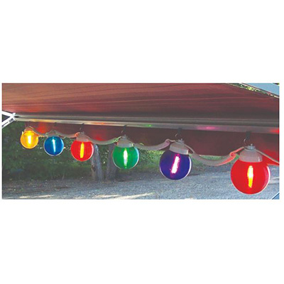 Patio Lights - Canadian RV Mats String Lights With 6 Multi-Colour Globes 120V