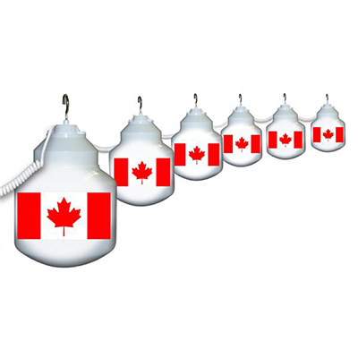 Globe String Lights - Polymer Products Canadian Flag Lights - 6 Shatterproof Globes