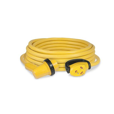 Power Cord - ParkPower 30A RV Cordset With Right Angle Connection & Lock Ring 30'L