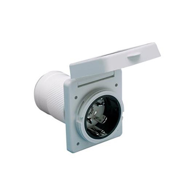 Power Receptacle - Easy Lock Standard-Inlet Electrical Socket 50A - White