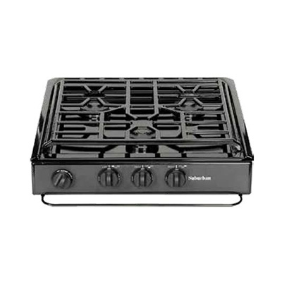 Gas Cooktop - Suburban 3-Burner Slide-In-Counter Cooktop With Deluxe Grate Black