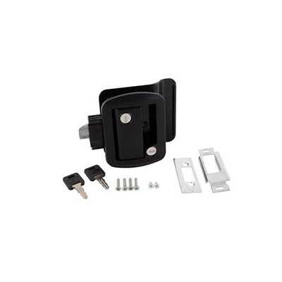 RV Door Latch - Global Entry Door Latch With Deadbolt, Backing Plate & Keys Black
