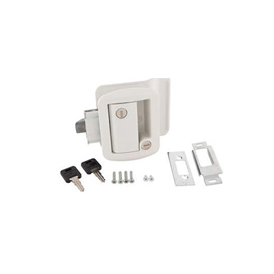 RV Door Latch - Global Entry Door Latch With Deadbolt, Backing Plate & Keys White