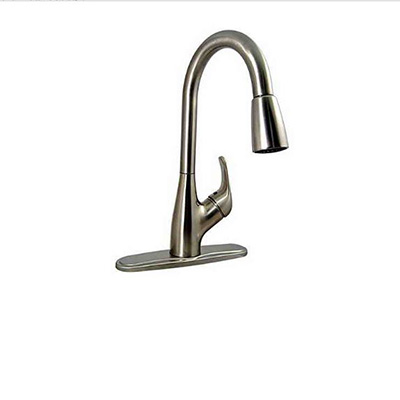 Sink Faucet - Valterra Kitchen Sink Faucet With Side Lever & Pull-Out Sprayer Brushed Nickel
